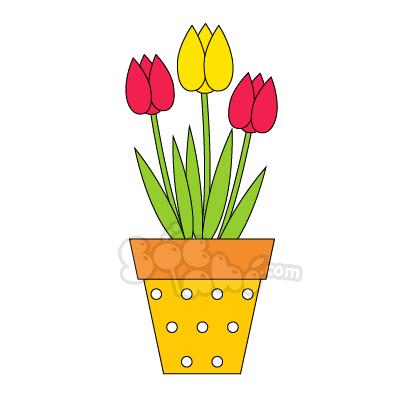 Học vẽ Chậu hoa tulip