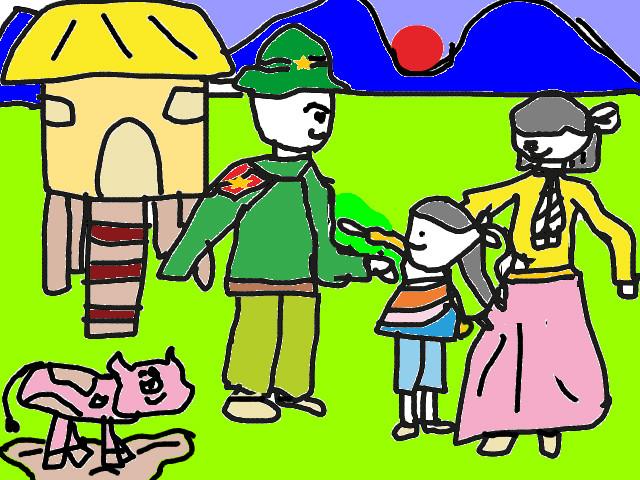 hoa-si-nhi/xem-tranh/183917/Chu-bo-doi-cu-Ho-va-gia-dinh.html