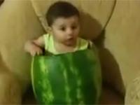 Bé con ăn dưa hấu