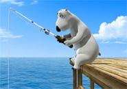 Chú gấu Bernard câu cá