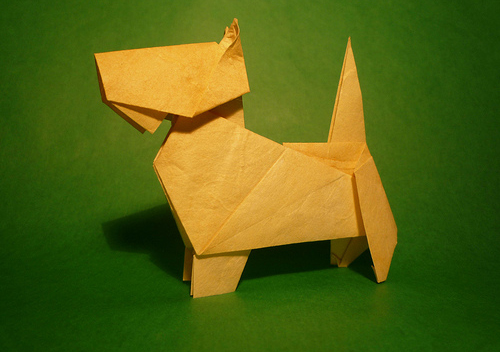 Gấp cún con từ giấy