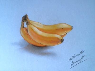 Học vẽ quả chuối chín vàng ươm